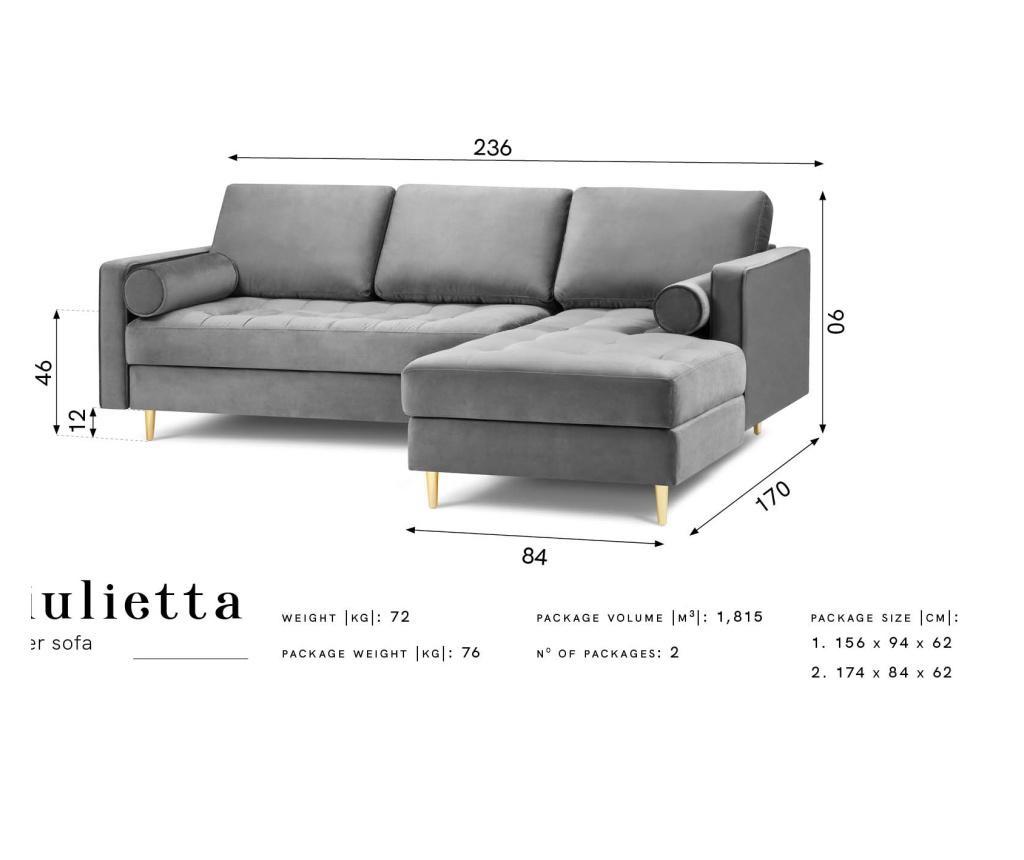 Coltar dreapta Velvet Giulietta Light Grey
