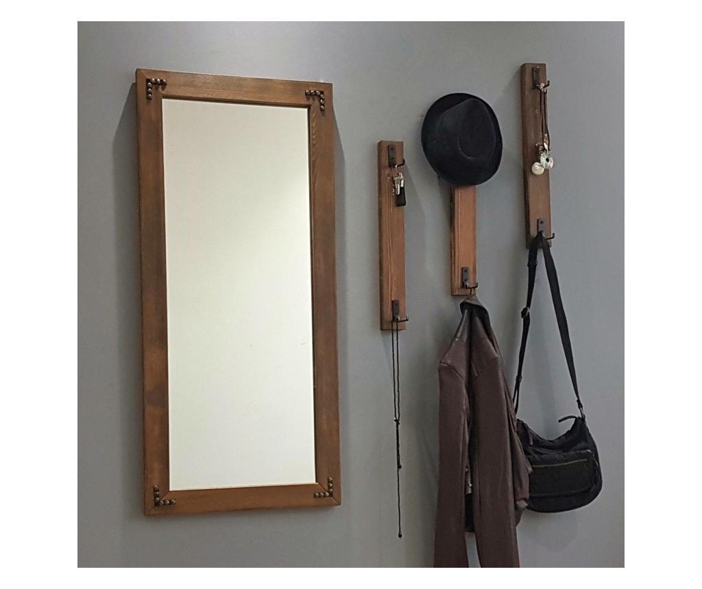 Zestaw lustro ścienne i 3 haczyki
