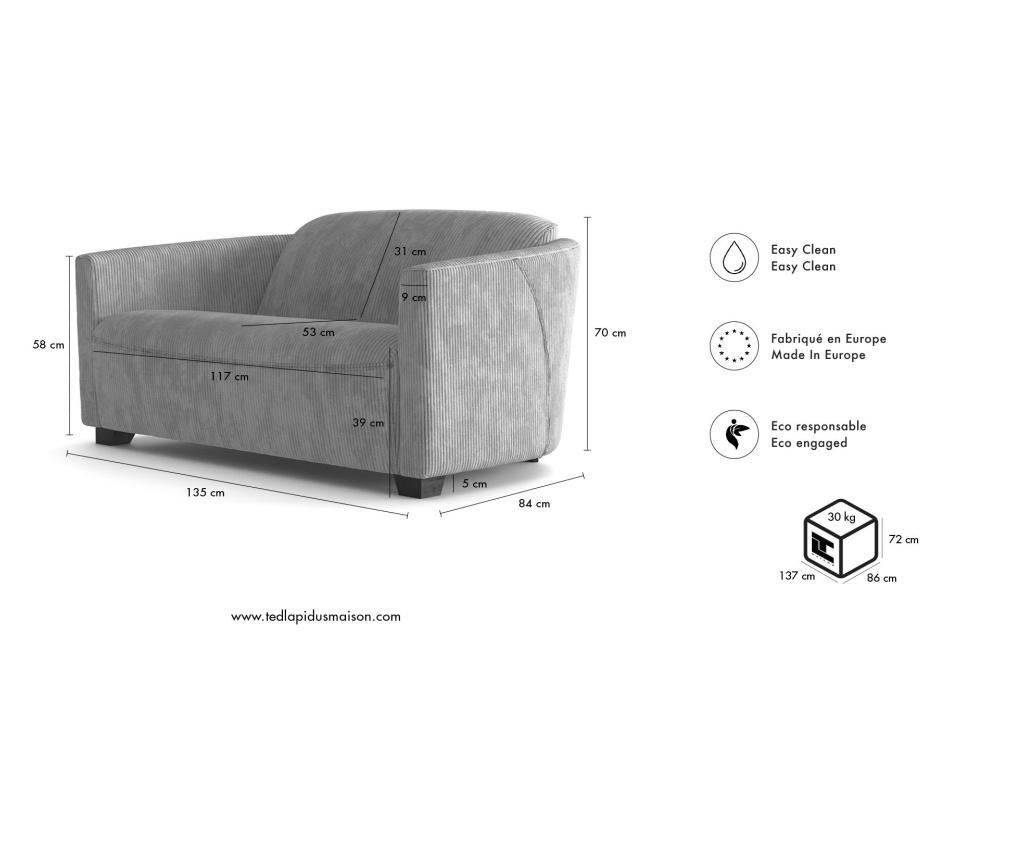 Canapea 3 locuri Milton Light Grey
