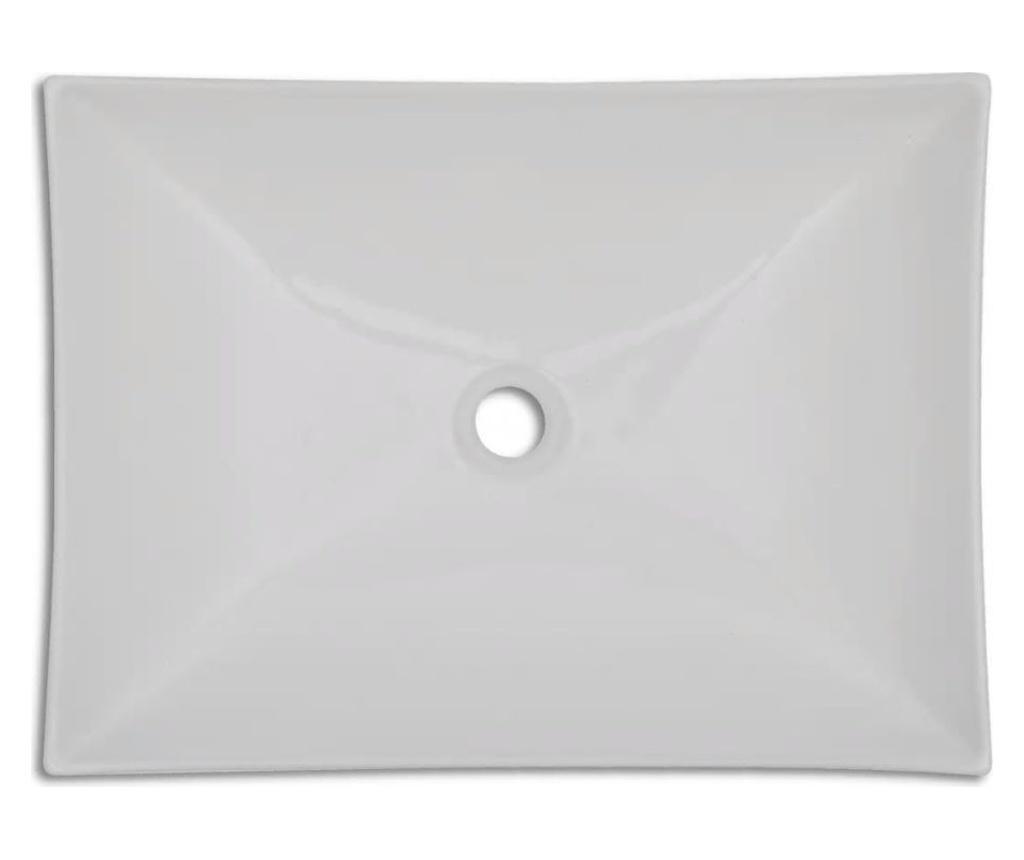 Keramički Umivaonik za Kupaonicu Bijeli Visoki Sjaj