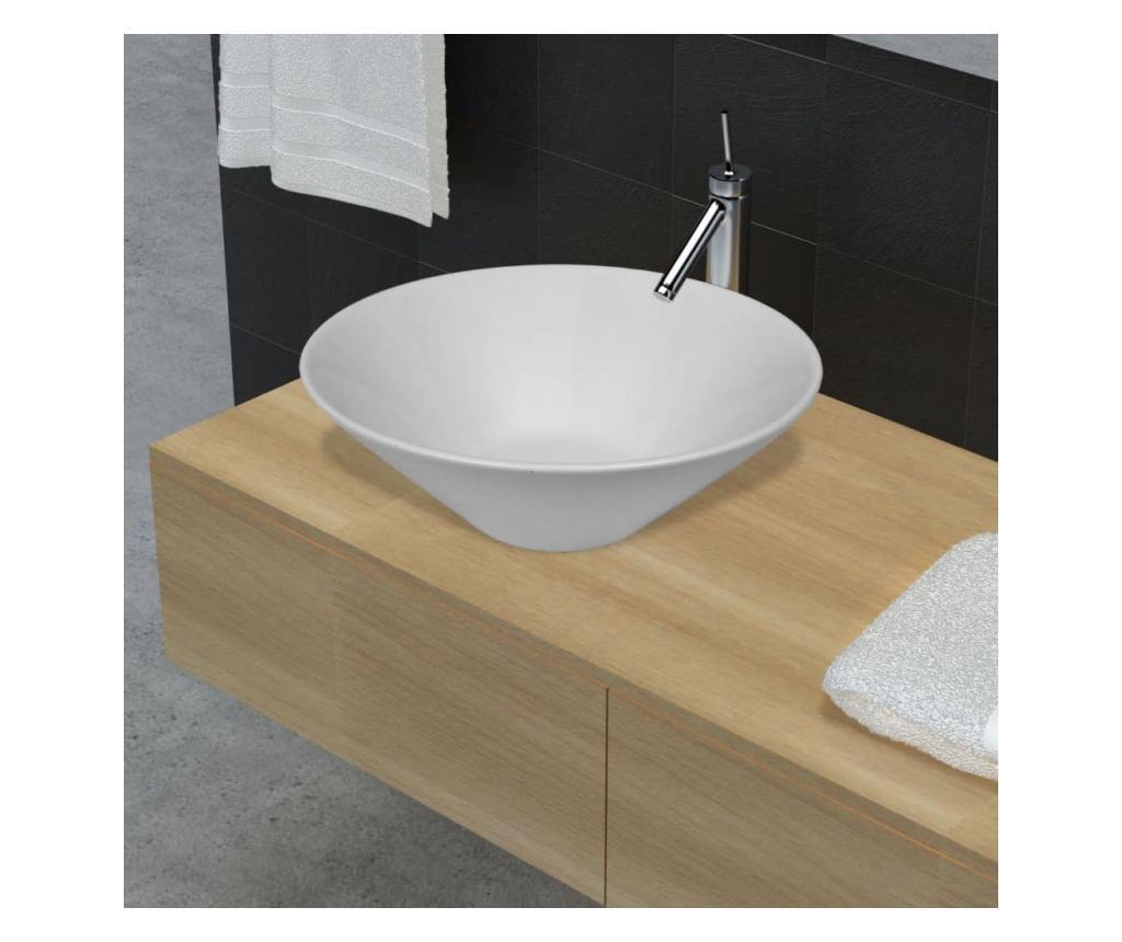 Keramički okrugli umivaonik za kupaonicu u bijeloj boji velikog sjaja