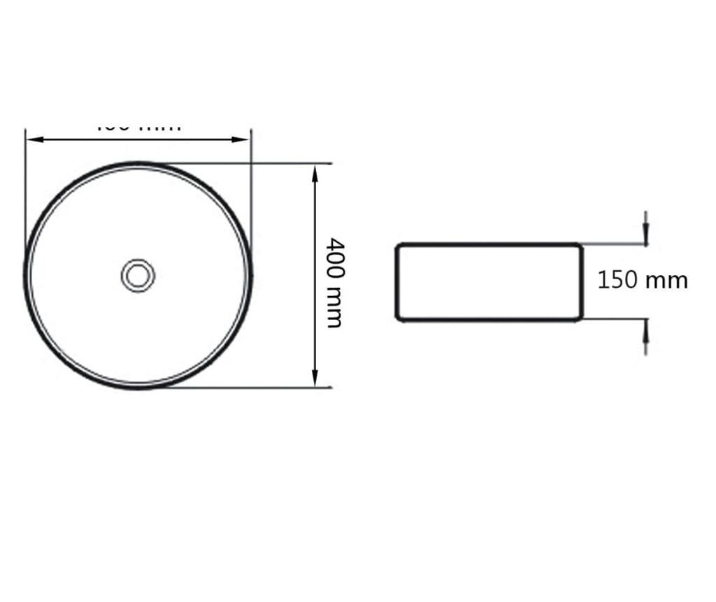 Keramički okrugli umivaonik 40 x 15 cm crni