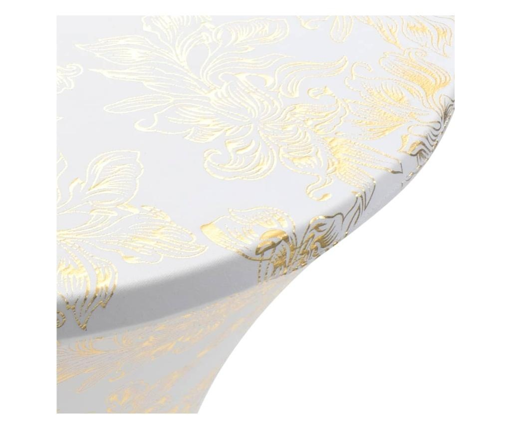 2 elastyczne pokrowce na stół, 80 cm, białe ze złotym nadrukiem