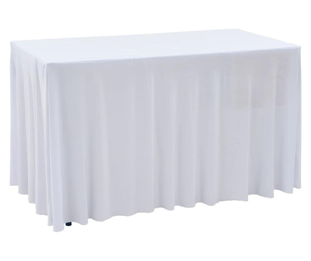 Elastyczne obrusy z falbaną, 2 szt., 120 x 60,5 x 74 cm, białe