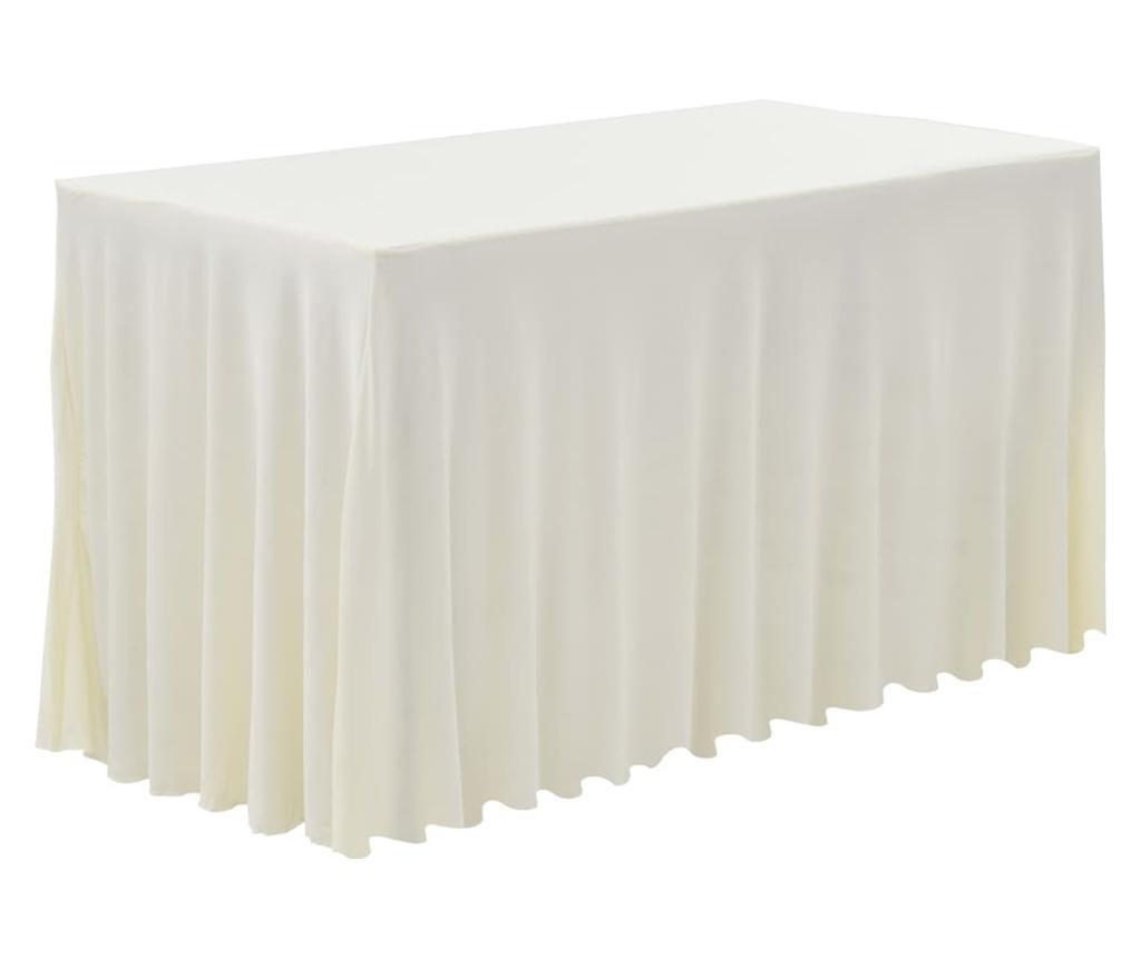 Obrusy z falbaną, elastyczne, 2 szt., 120x60,5x74 cm, kremowe