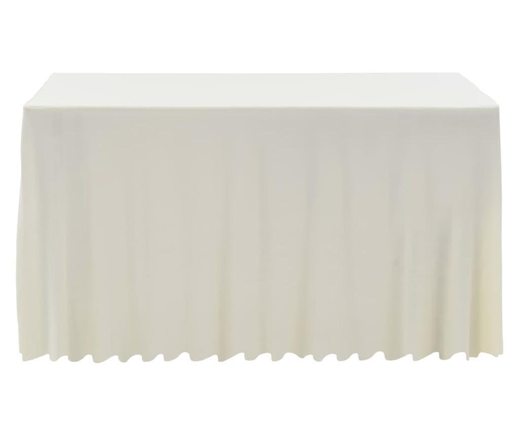 Obrusy z falbaną, elastyczne, 2 szt., 243 x 76 x 74 cm, kremowe