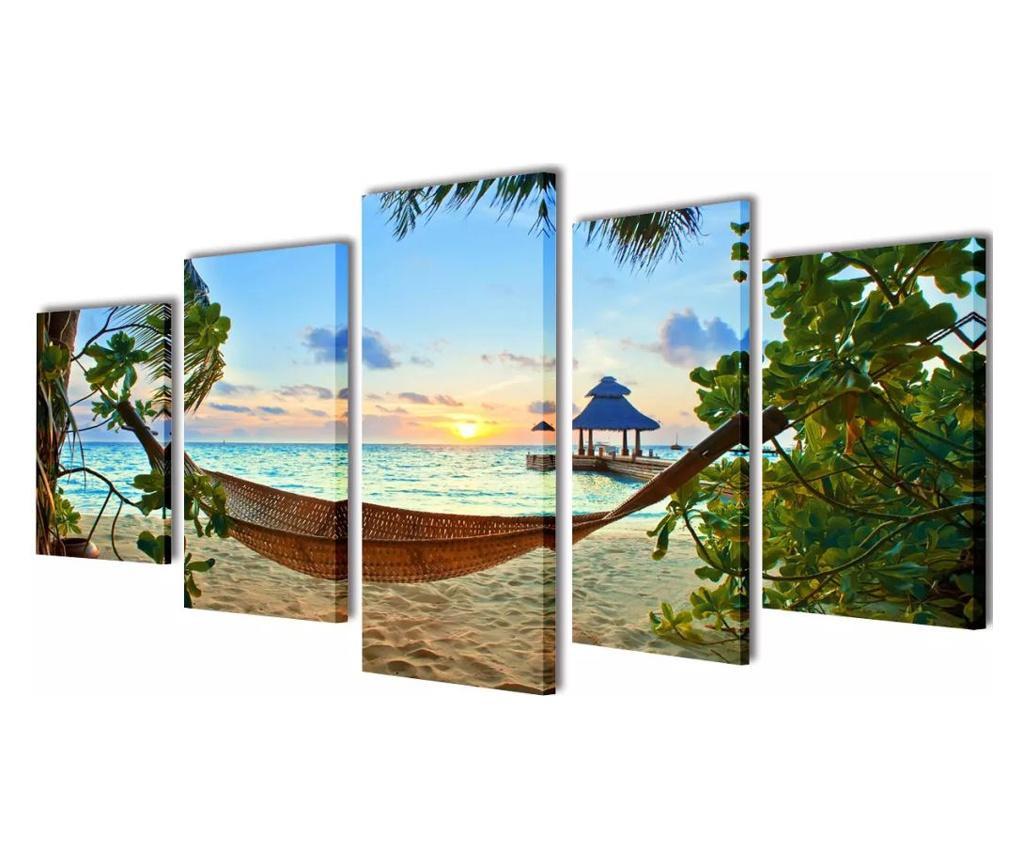 Zestaw obrazów Canvas 100 x 50 cm Plaża i Hamak