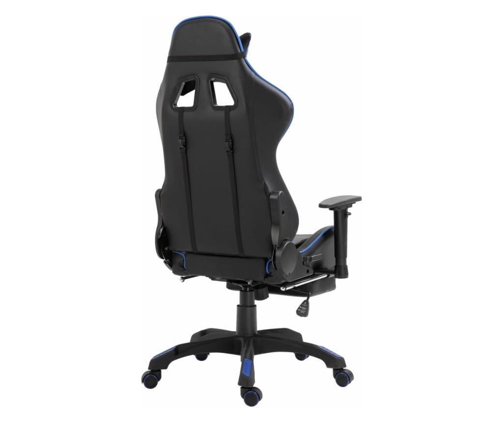 Herní židle s podnožkou modrá umělá kůže