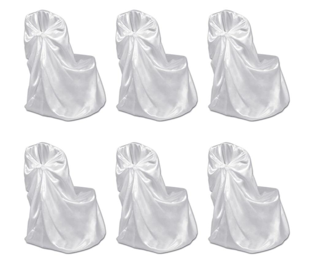 Pokrowce na krzesła weselne 6 szt. białe