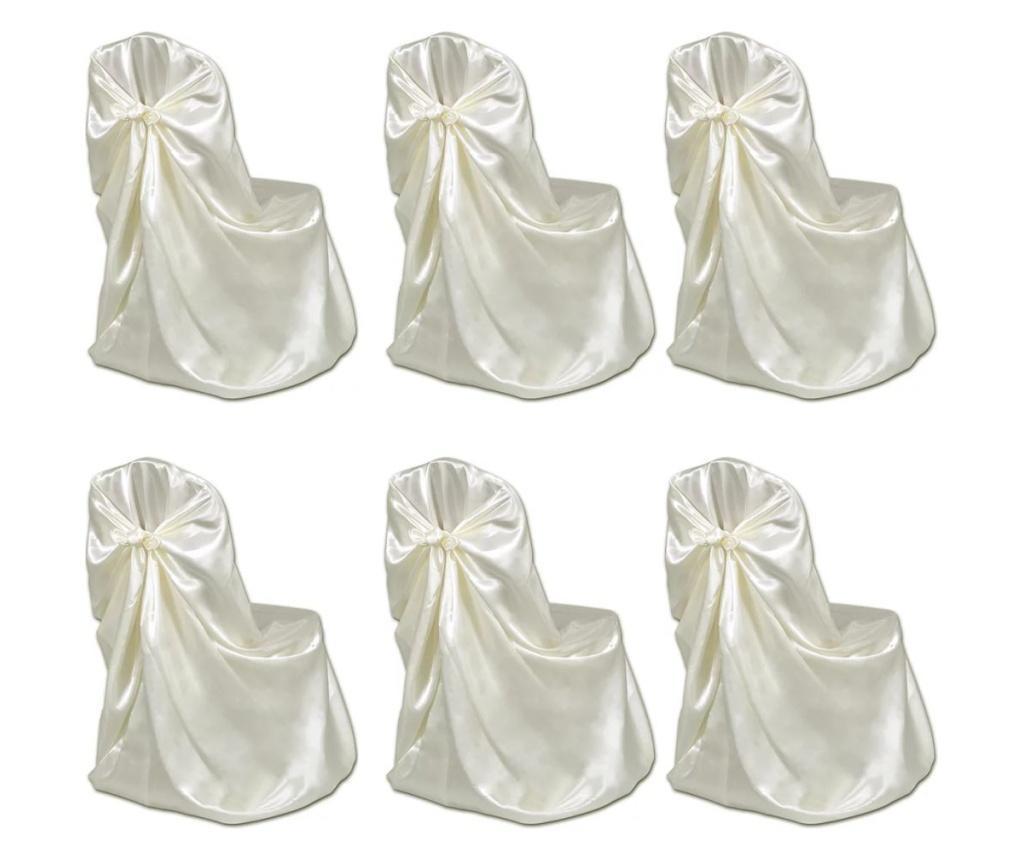 Pokrowce na krzesła weselne 6 szt. kremowe