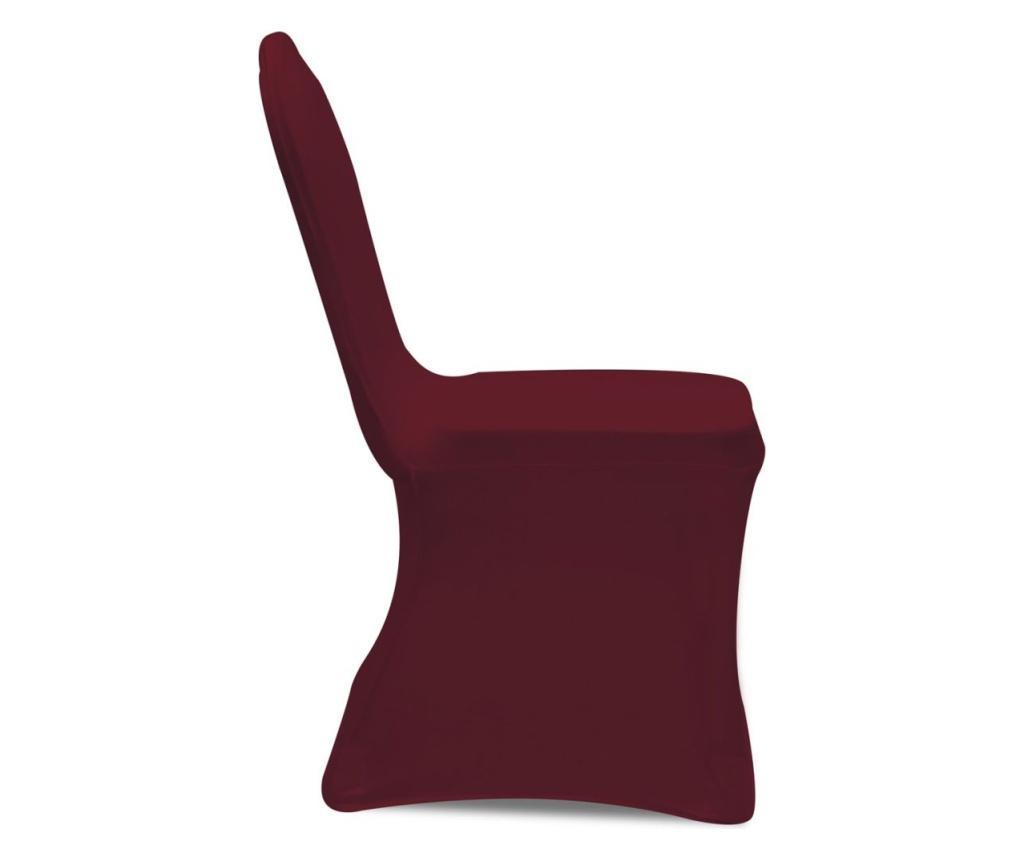 Elastyczne pokrowce na krzesła, burgundowe, 6 szt.