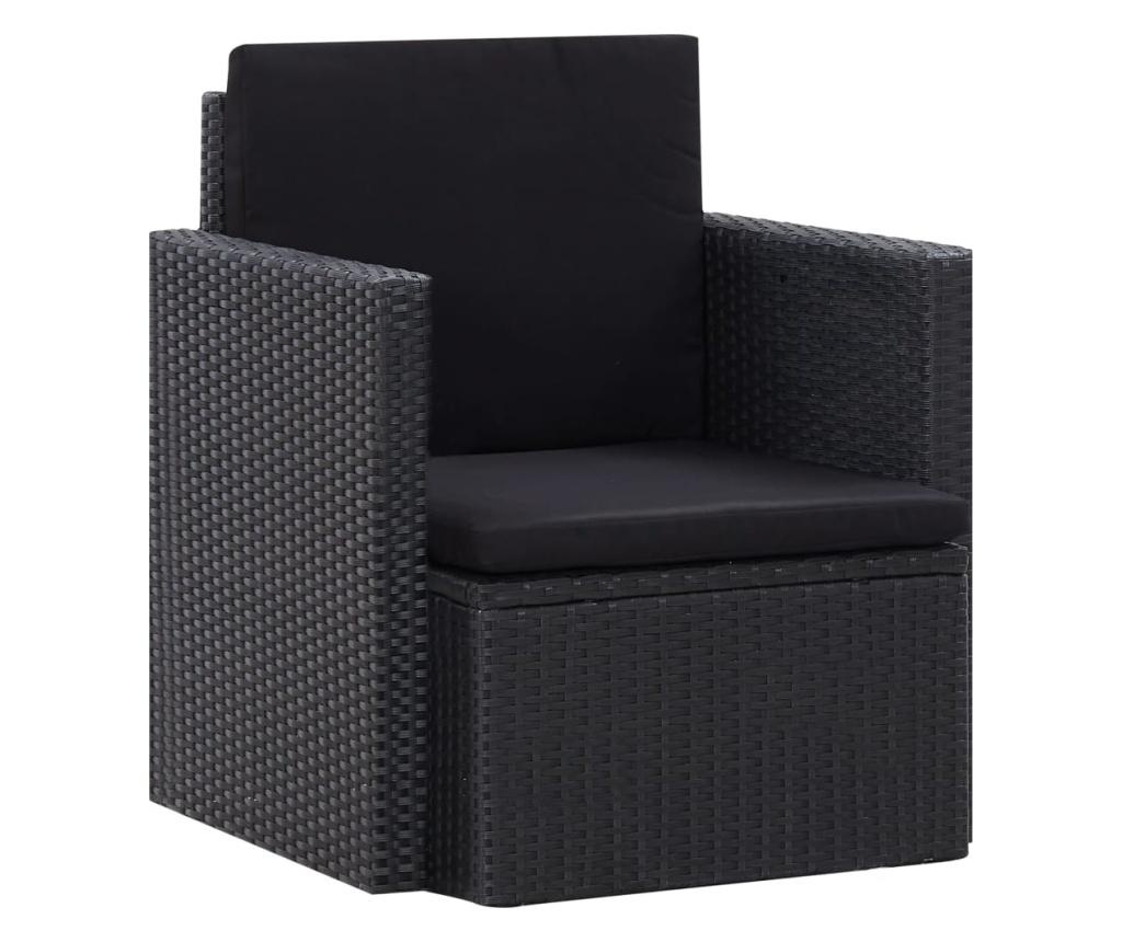 Fotel ogrodowy z poduszkami, polirattan, czarny