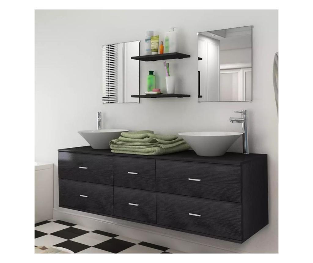 9-częściowy zestaw mebli łazienkowych ze zlewami i kranami