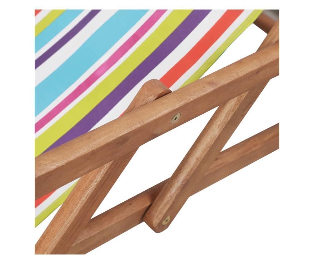Składany leżak plażowy, tkanina i drewniana rama, wielokolorowy