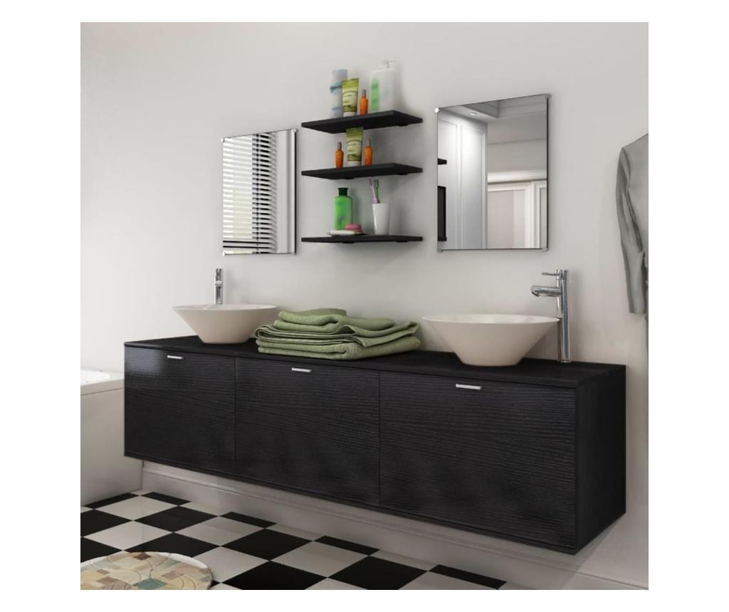 10-częściowy zestaw mebli łazienkowych ze zlewami i kranami