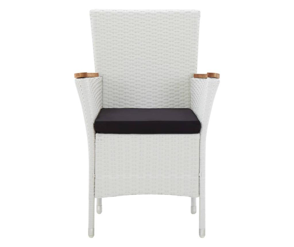 Krzesła ogrodowe, 2 szt., białe, polirattan