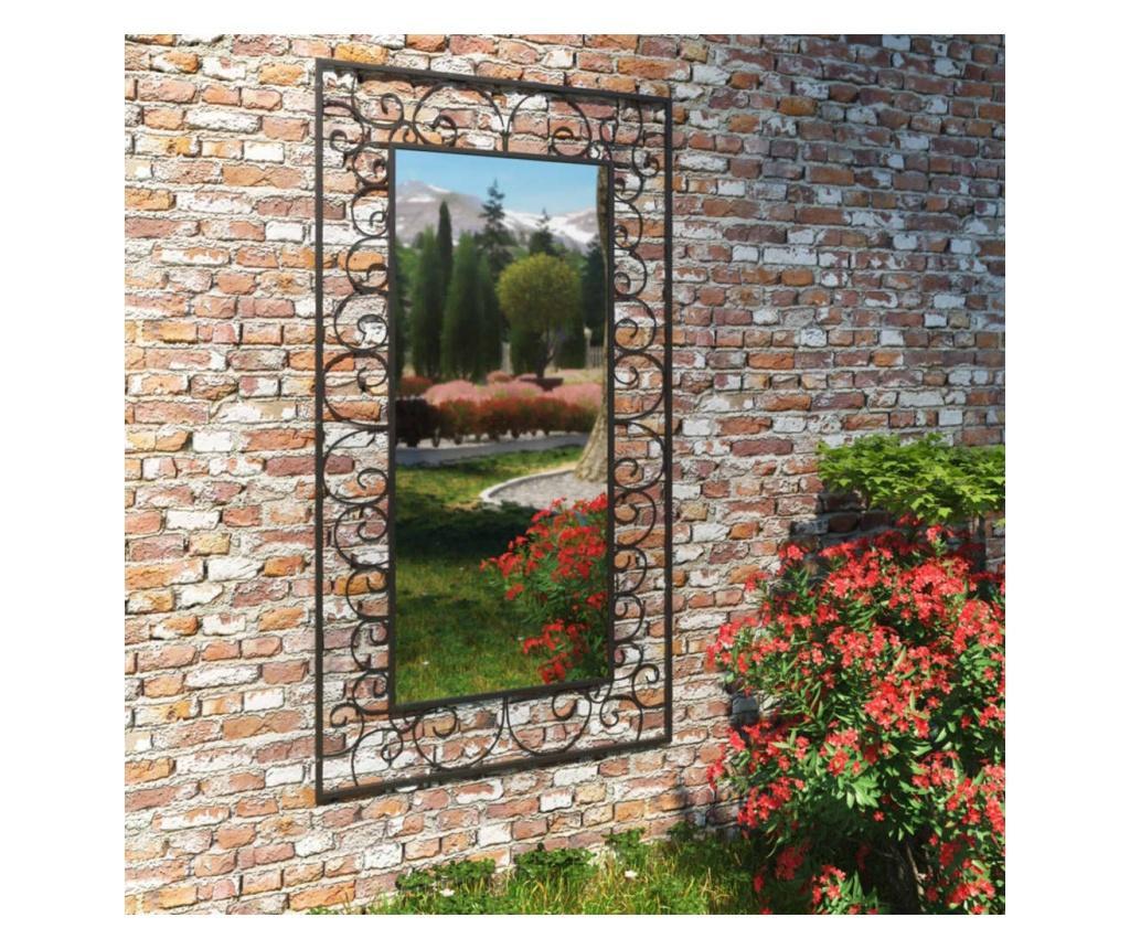 Lustro ścienne do ogrodu, prostokątne, 60 x 110 cm, czarne