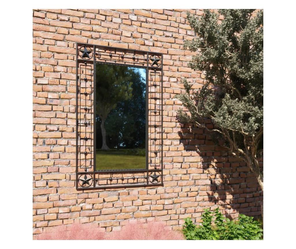 Lustro ścienne do ogrodu, prostokątne, 50 x 80 cm, czarne