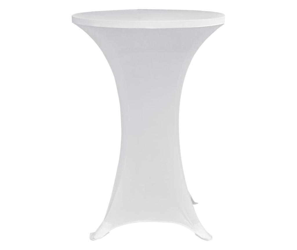 Pokrowce na stół barowy, Ø 60 cm, białe, elastyczne, 4 szt.
