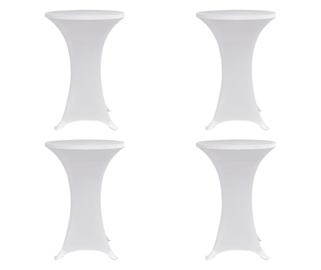Pokrowce na stół barowy, Ø 70 cm, białe, elastyczne, 4 szt.
