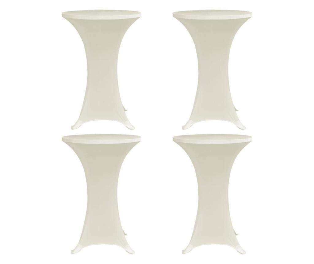 Pokrowce na stół barowy, Ø 80 cm, kremowe, elastyczne, 4 szt.