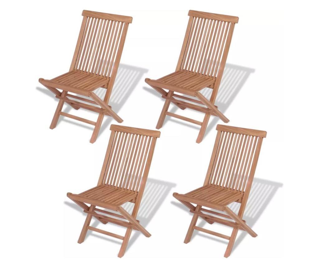 Składane krzesła ogrodowe, 4 szt., lite drewno tekowe