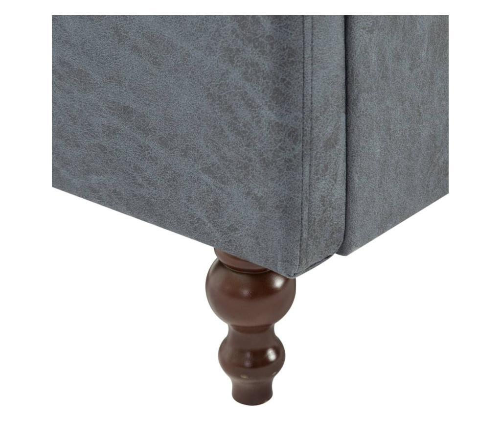 2-dijelni set sofa Chesterfield s presvlakom od tkanine sivi