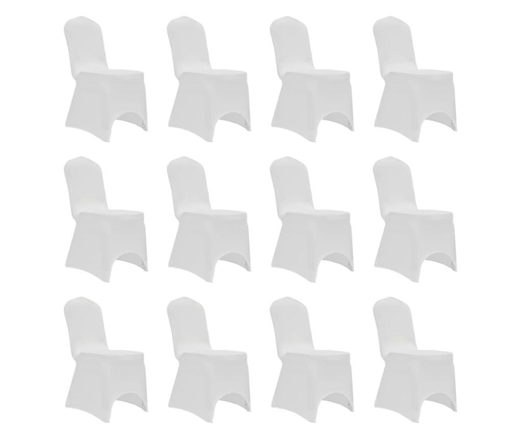 Elastyczne pokrowce na krzesła, białe, 12 szt.