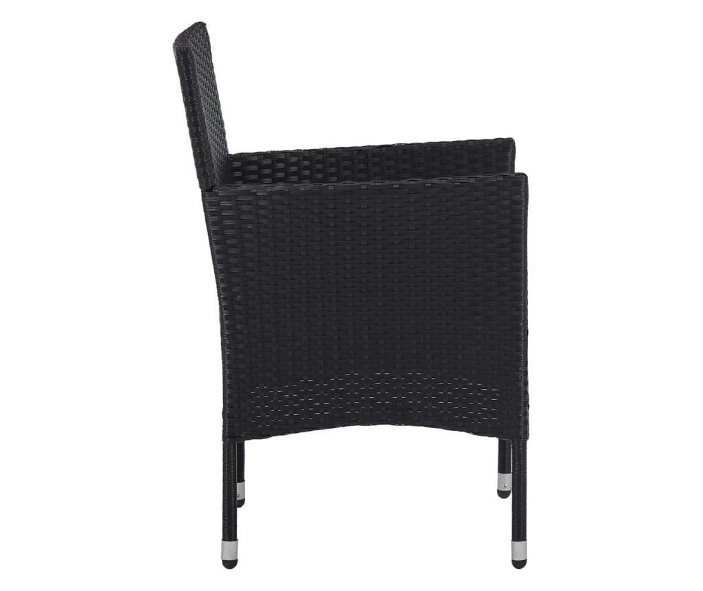 Krzesła ogrodowe, 2 szt., polirattan, czarne