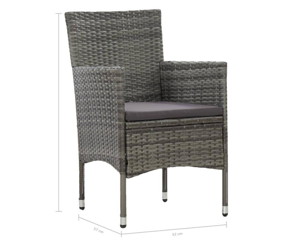 Krzesła ogrodowe, 2 szt., rattan PE, szare
