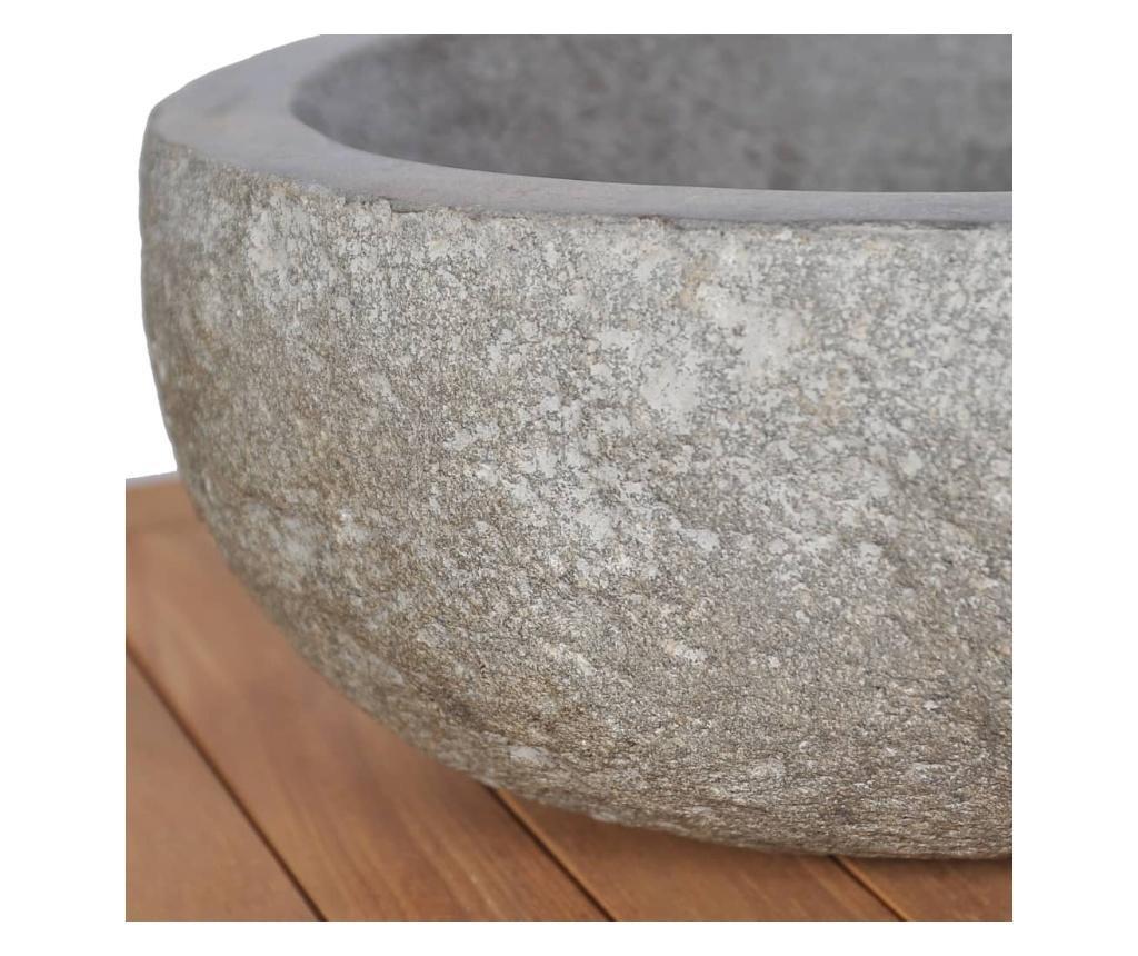 Szafka łazienkowa z kamiennymi umywalkami, drewno tekowe
