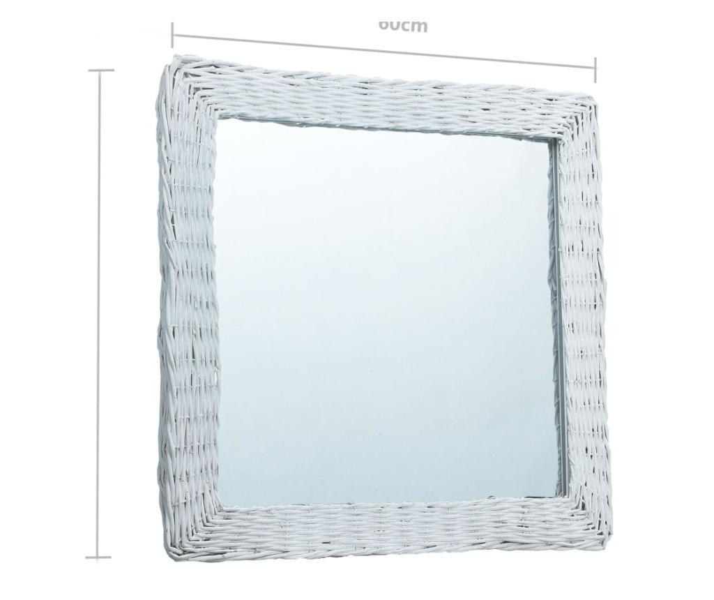 Lustro, białe, 60x60 cm, wiklina