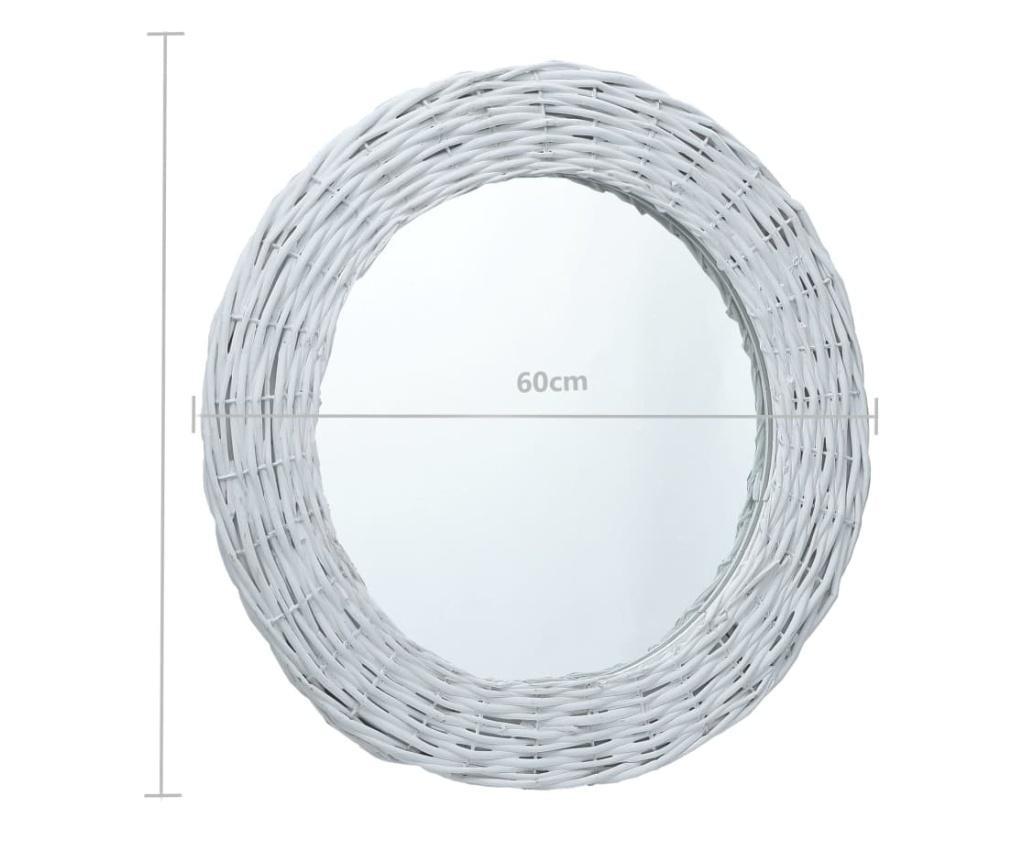 Lustro, białe, 60 cm, wiklina