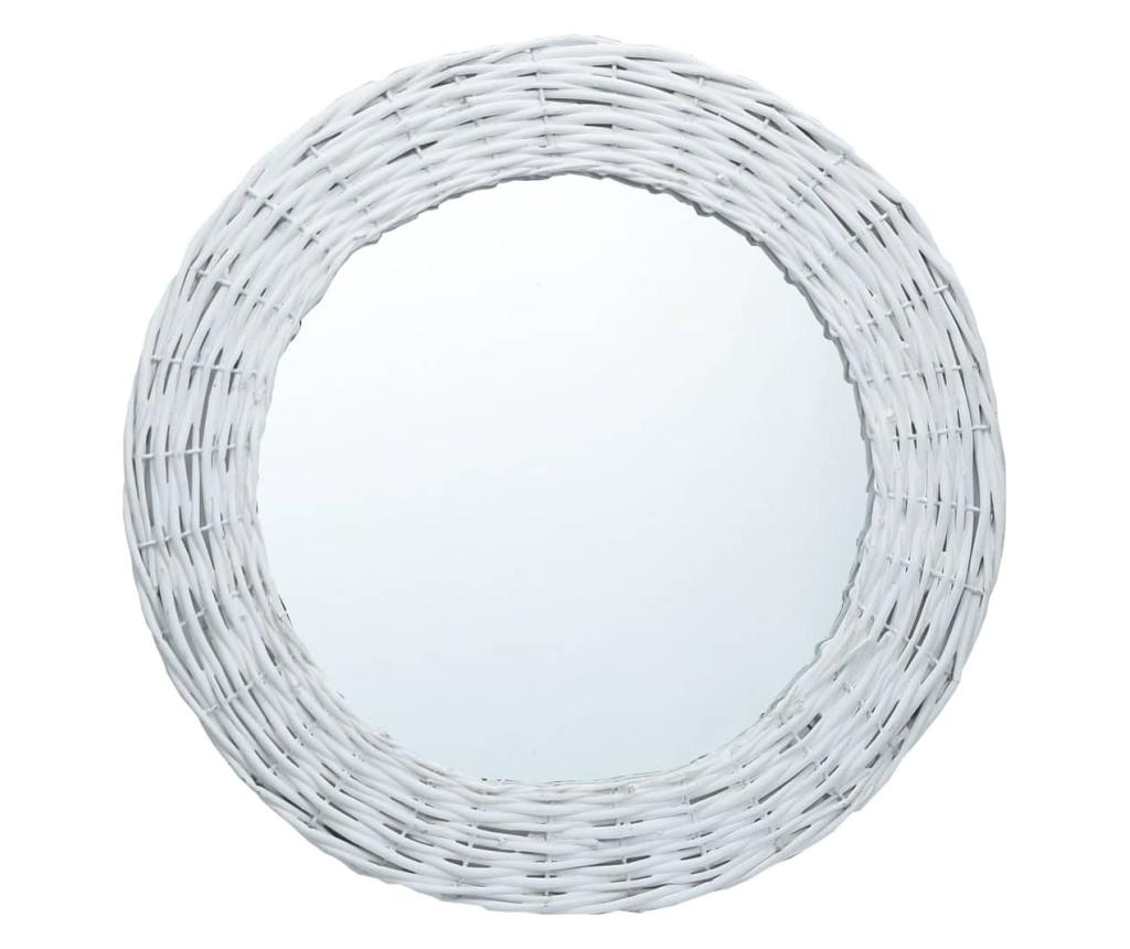 Lustro, białe, 70 cm, wiklina
