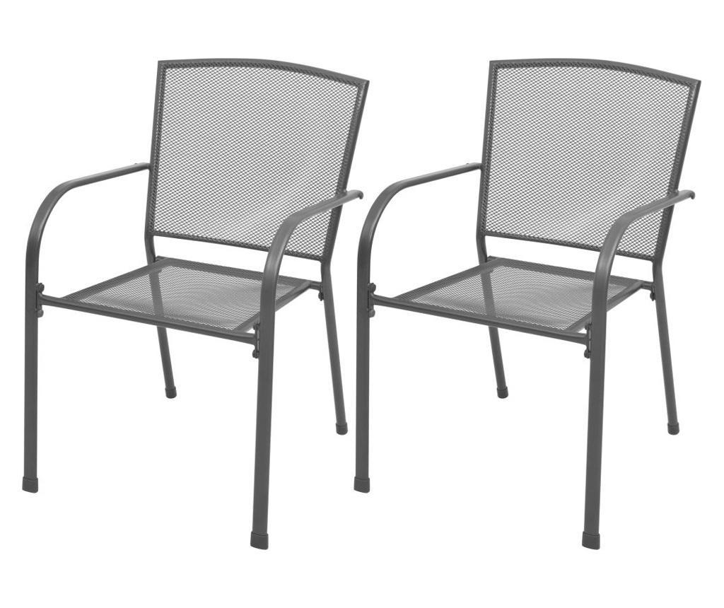 Krzesła ogrodowe, sztaplowane, 2 szt., stalowe, szare