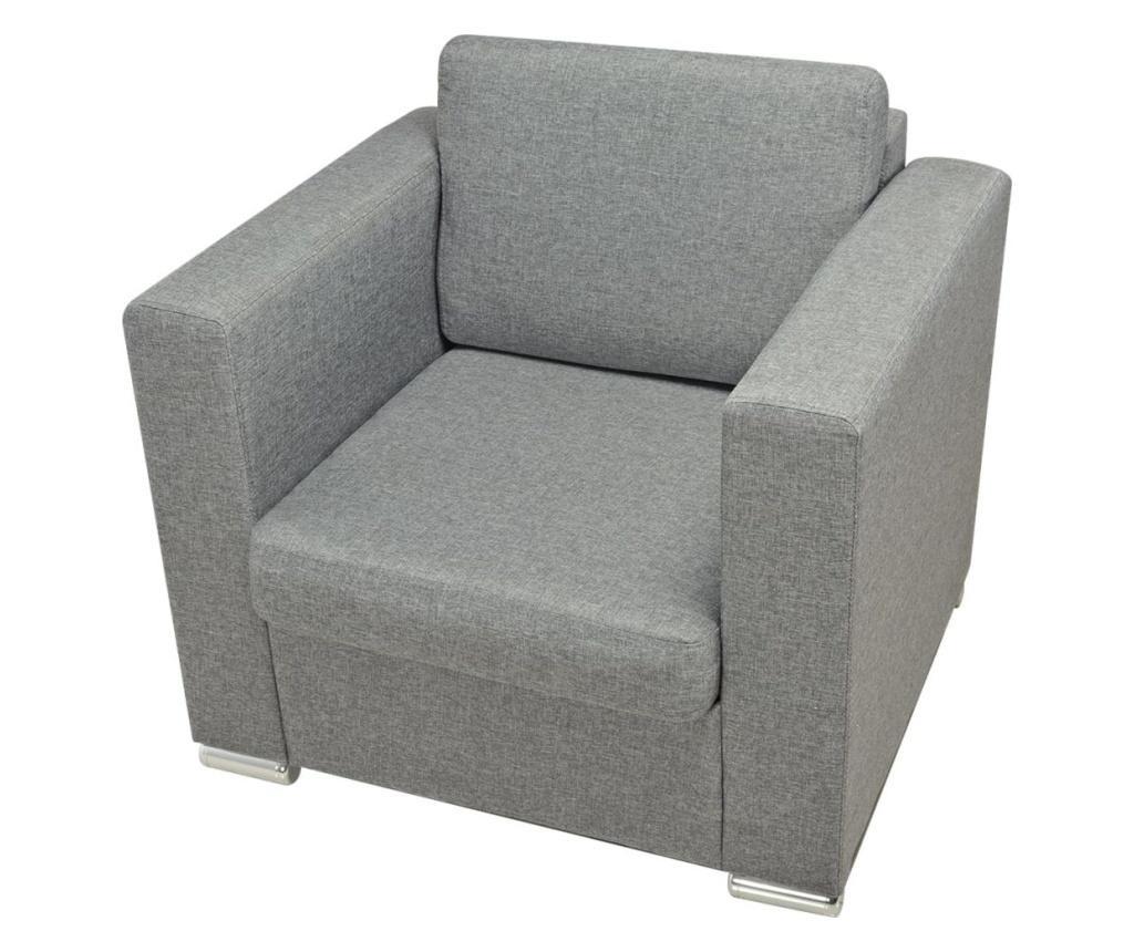 Trodijelni set sofa od tkanine svijetlosivi