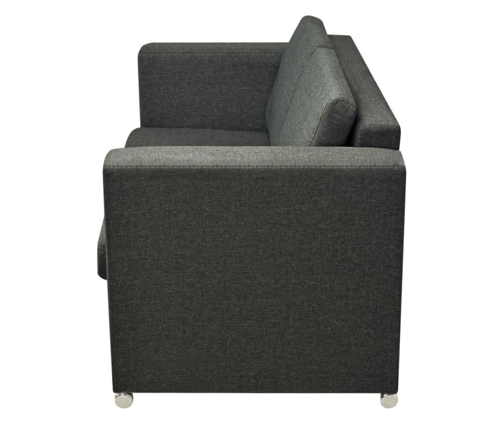 Dvodijelni set sofa od tkanina tamnosivi