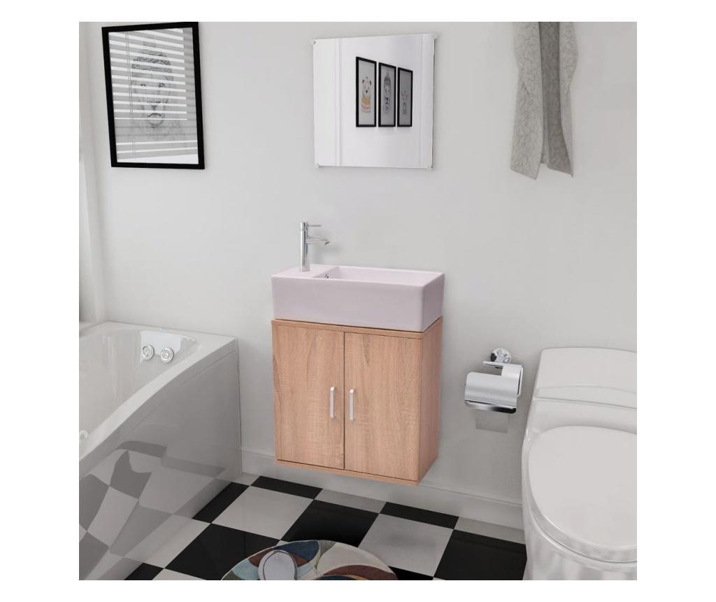 3-dijelni Komplet Namještaja za Kupaonicu sa Umivaonikom Bež