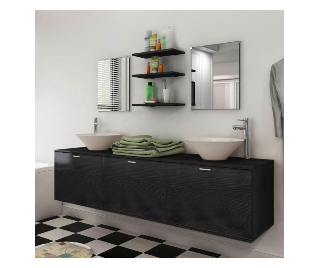 Crni 8-Dijelni Set Namještaja za Kupaonicu sa Umivaonikom