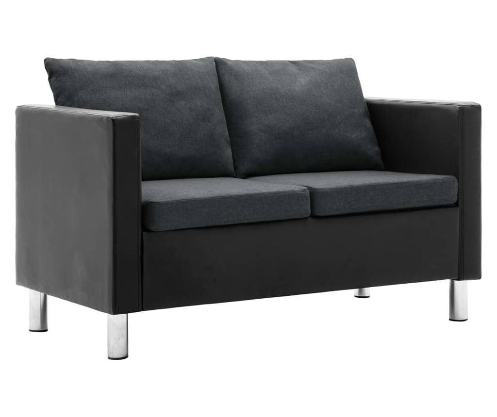 2-dijelni set sofa od umjetne kože crni i tamnosivi