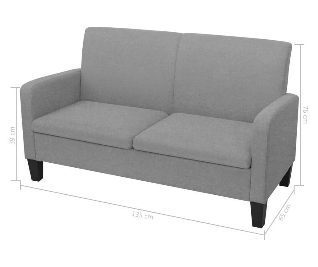 2-dijelni set sofa od tkanina svjetlosivi