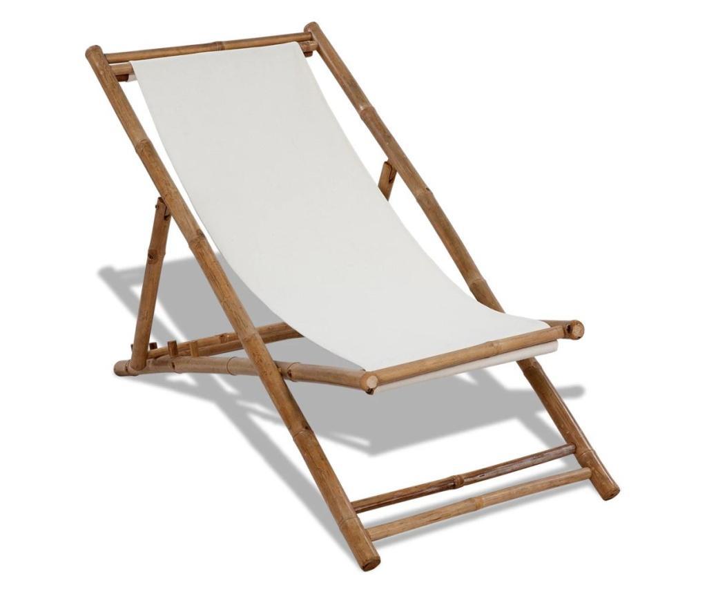 Leżak tarasowy, bambus i płótno