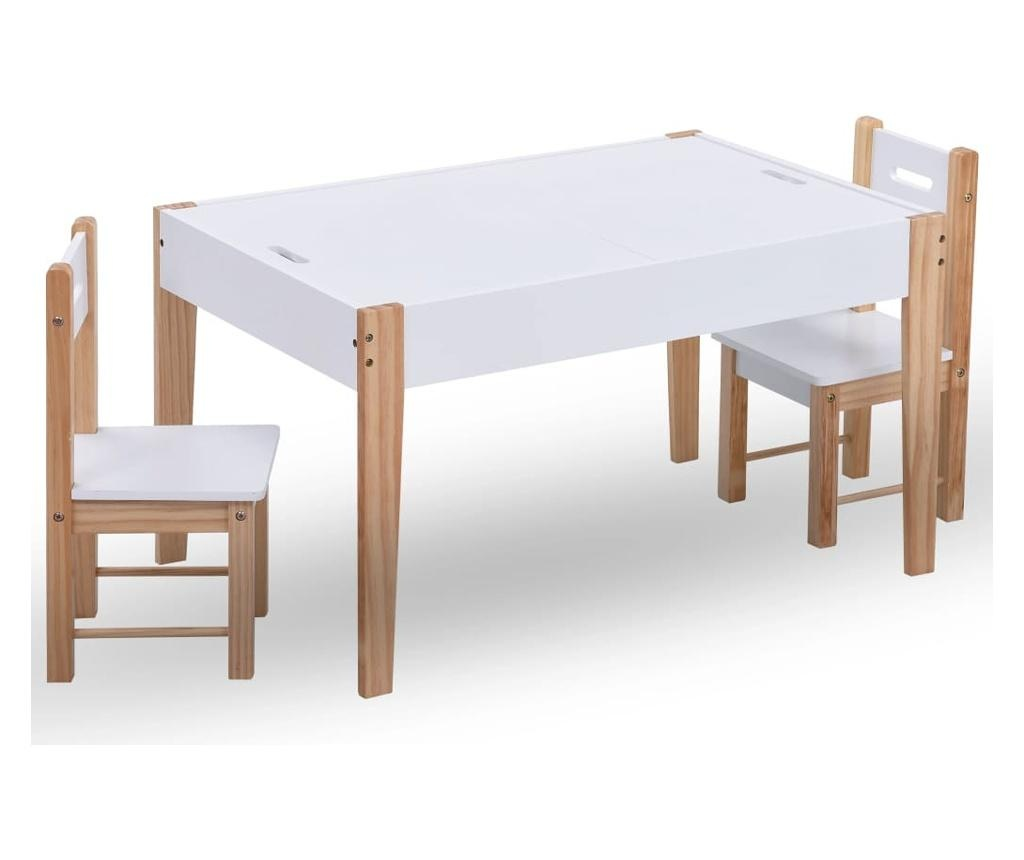 3-részes fekete és fehér táblás gyerekasztal- és székkészlet