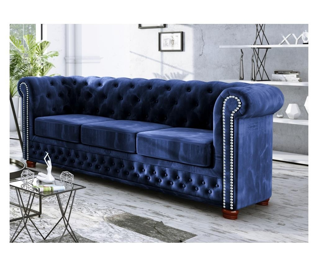 Canapea 3 locuri Chesterfield York Navy Blue
