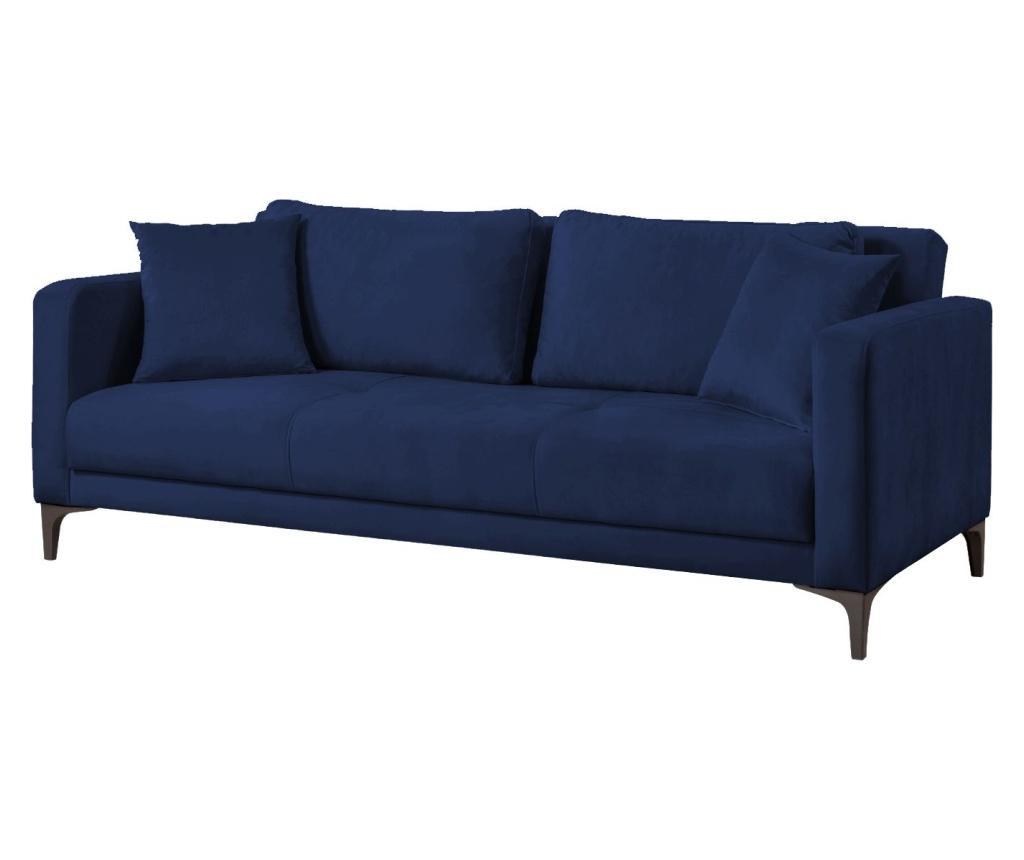 Velvet Navy Blue Kihúzható háromszemélyes kanapé