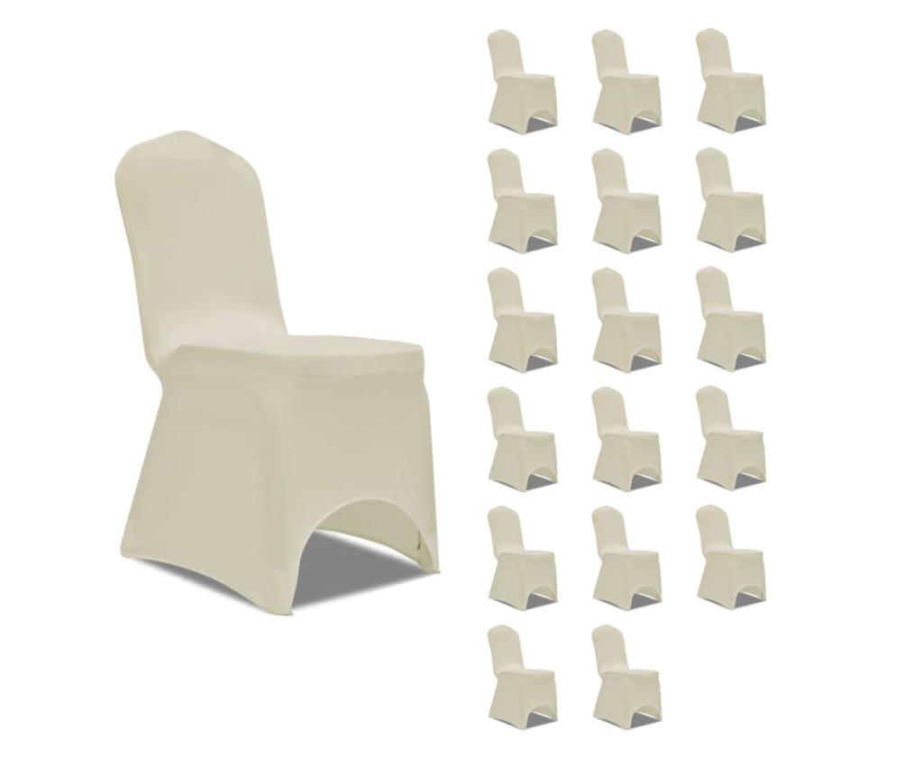 Elastyczne pokrowce na krzesła, kremowe, 18 szt.