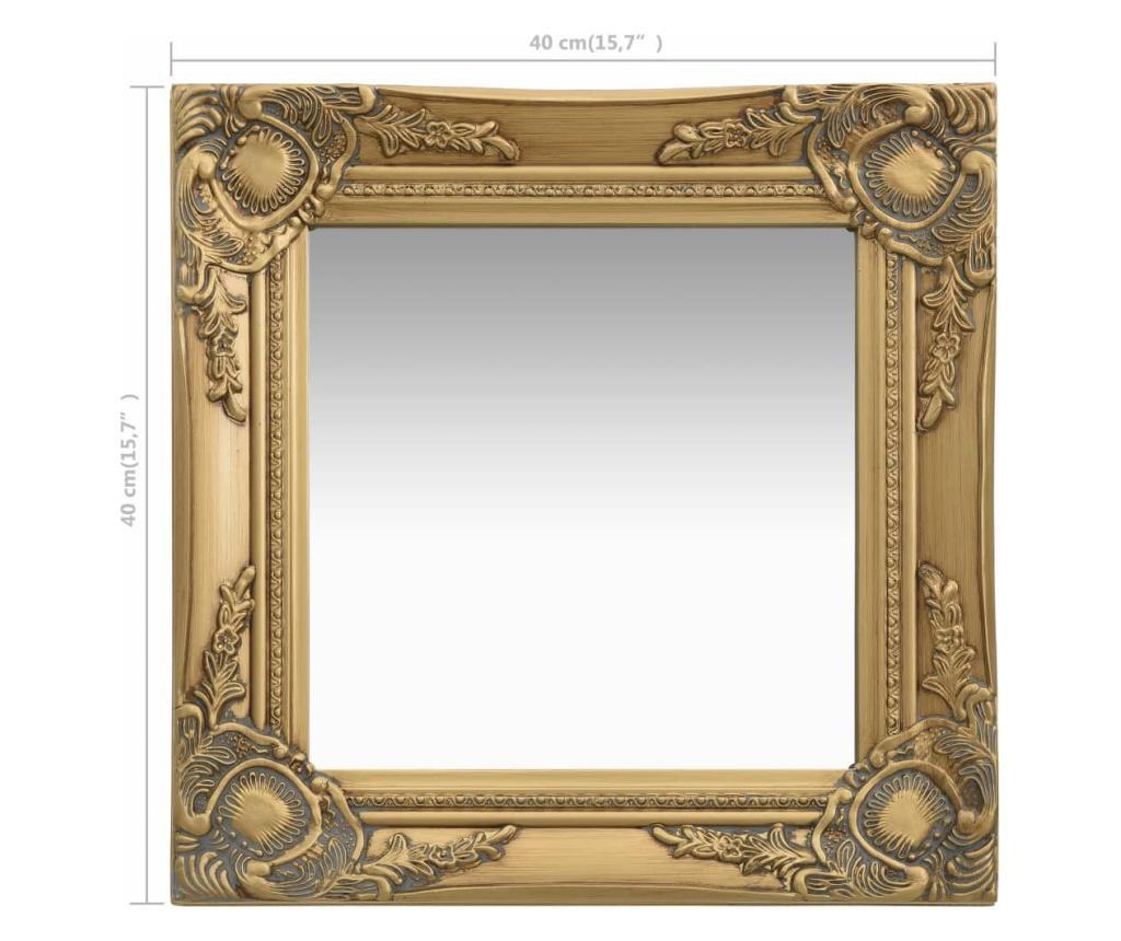 Lustro ścienne w stylu barokowym, 40x40 cm, złote