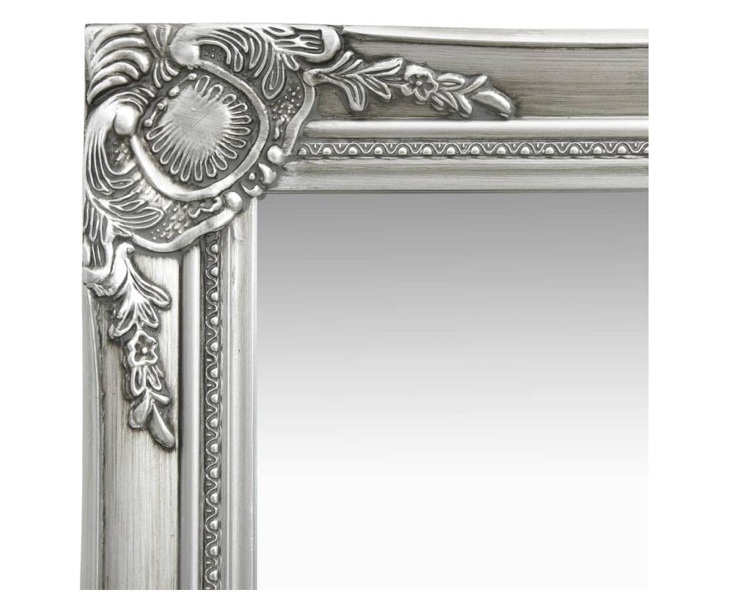Lustro ścienne w stylu barokowym, 40x40 cm, srebrne