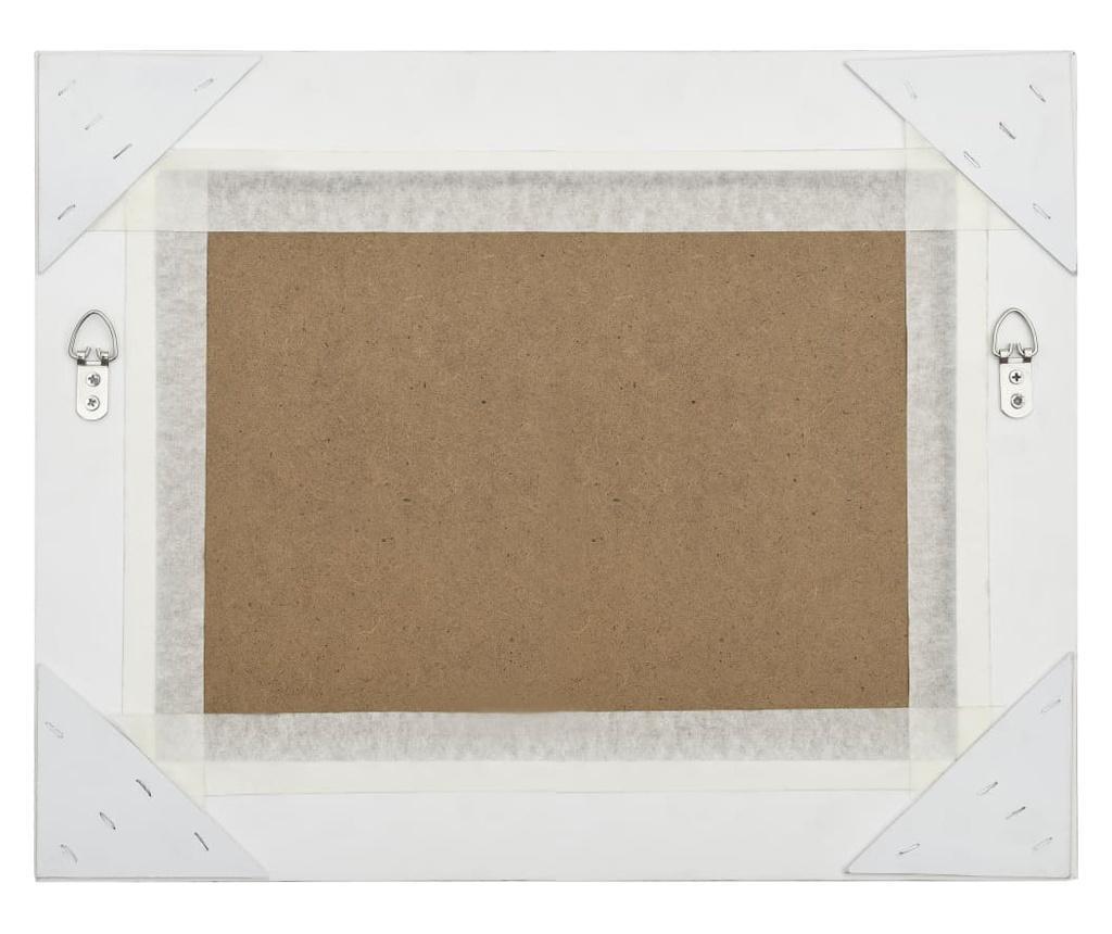 Lustro ścienne w stylu barokowym, 50x40 cm, srebrne