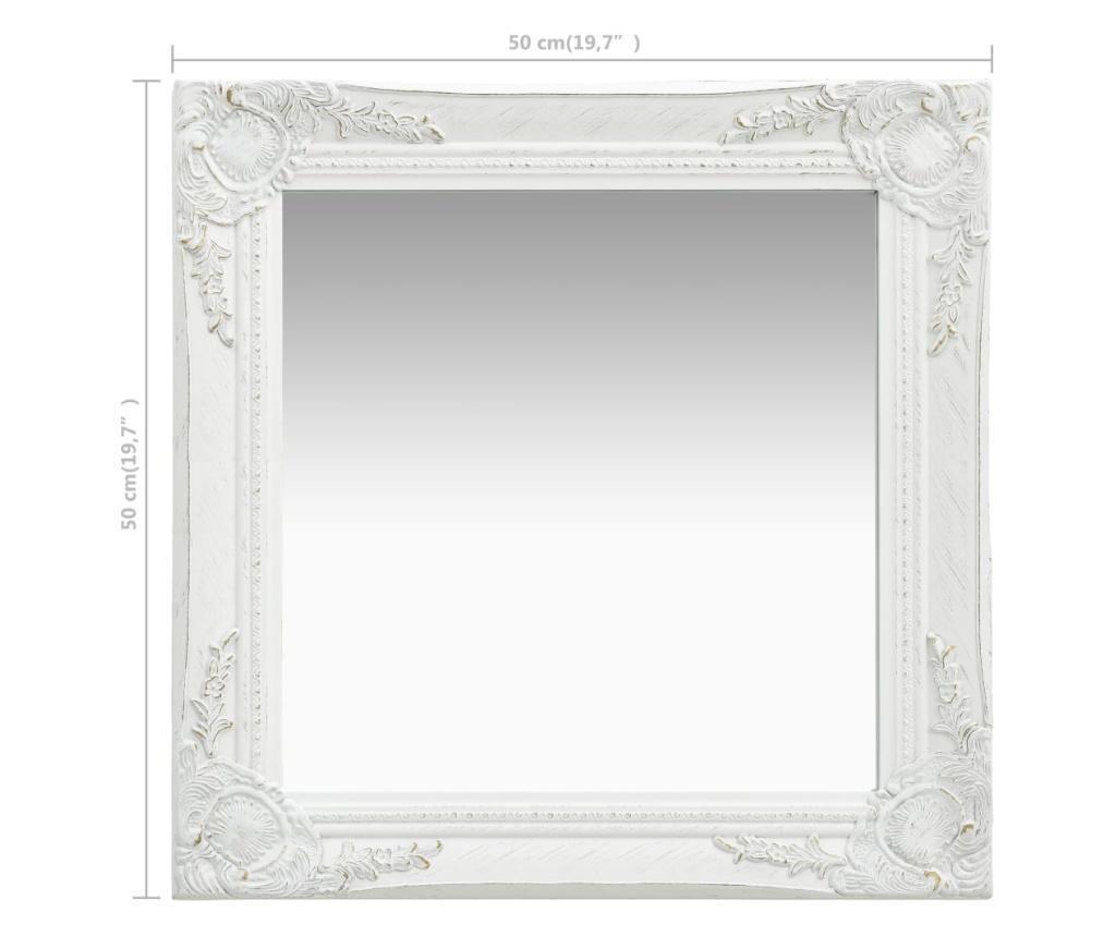 Lustro ścienne w stylu barokowym, 50x50 cm, białe